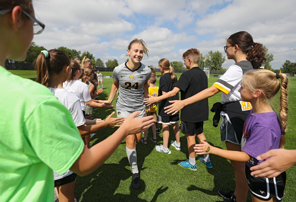 Iowa defender Sara Wheaton (24) takes the field for their match at the Iowa Soccer Complex in Iowa City on Sunday, Sep 1, 2019. (Stephen Mally/hawkeyesports.com)