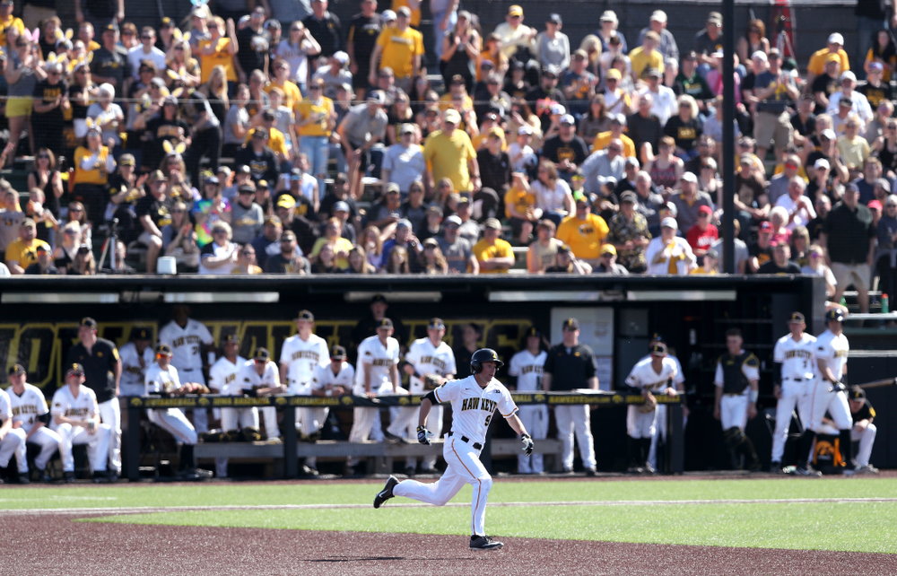 Iowa Hawkeyes outfielder Ben Norman (9) doubles against the Nebraska Cornhuskers Saturday, April 20, 2019 at Duane Banks Field. (Brian Ray/hawkeyesports.com)