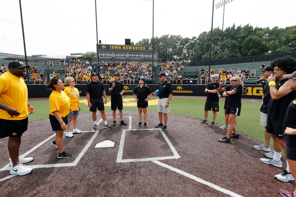 The coin toss during the Iowa Student Athlete Kickoff Kickball game  Sunday, August 19, 2018 at Duane Banks Field. (Brian Ray/hawkeyesports.com)