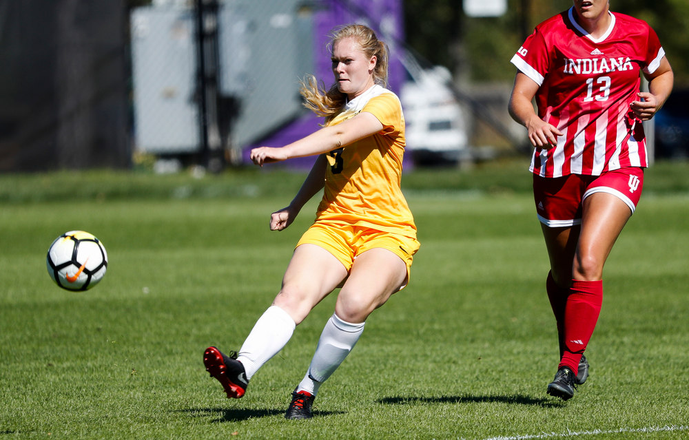 Iowa Hawkeyes defender Morgan Kemerling (3) passes the ball during a game against Indiana at the Iowa Soccer Complex on September 23, 2018. (Tork Mason/hawkeyesports.com)