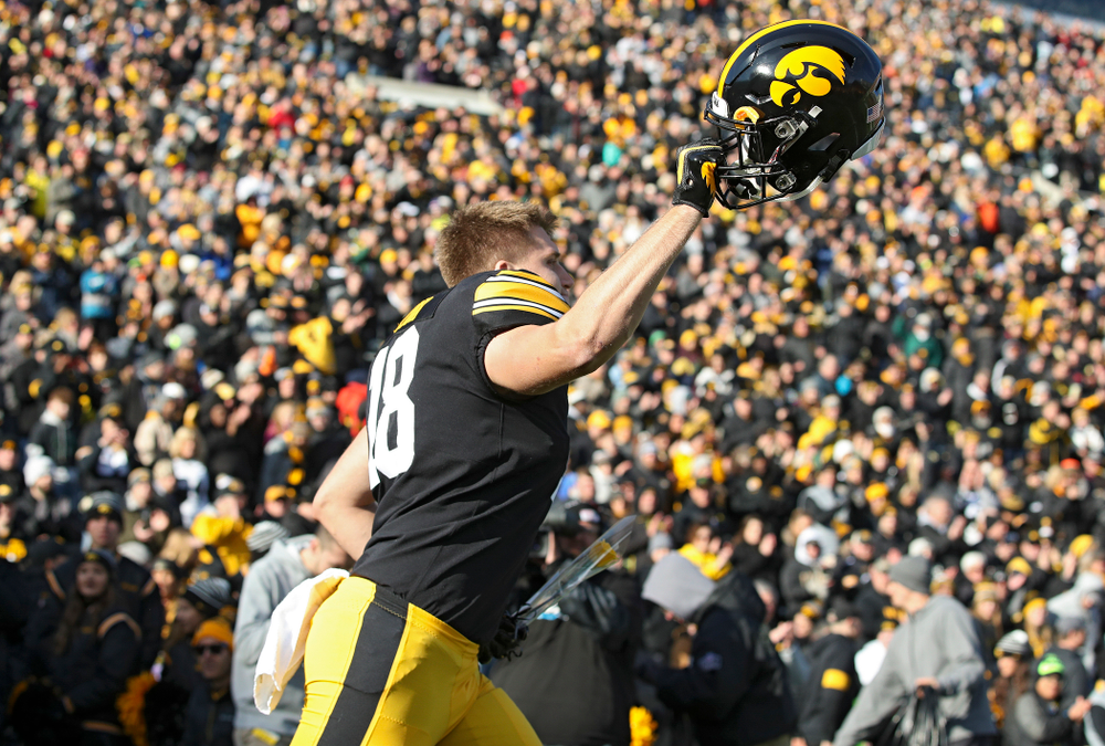 Iowa Hawkeyes tight end Drew Cook (18) is acknowledged on senior day before their game at Kinnick Stadium in Iowa City on Saturday, Nov 23, 2019. (Stephen Mally/hawkeyesports.com)
