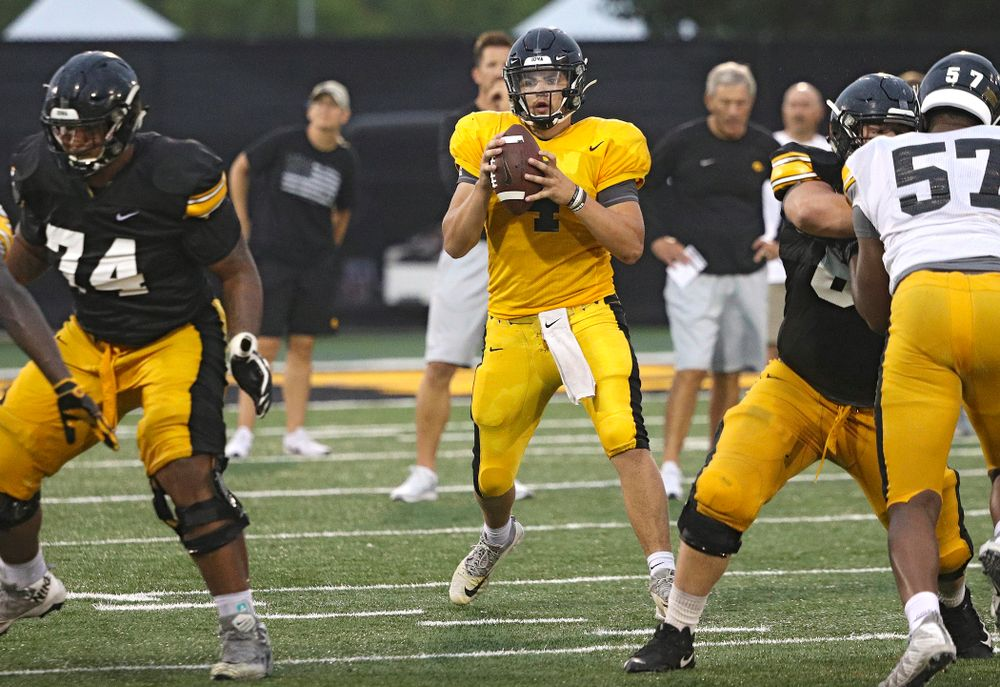 Iowa Hawkeyes quarterback Nate Stanley (4) looks to throw durning Fall Camp Practice No. 17 at the Hansen Football Performance Center in Iowa City on Wednesday, Aug 21, 2019. (Stephen Mally/hawkeyesports.com)