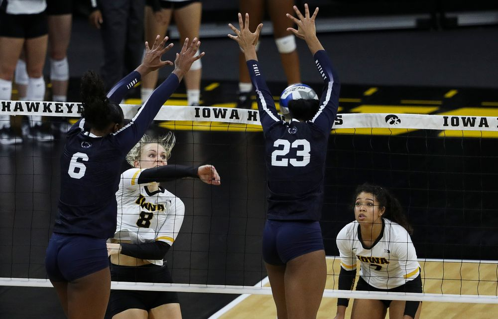 Iowa Hawkeyes right side hitter Reghan Coyle (8) spikes the ball during a match against Penn State at Carver-Hawkeye Arena on November 3, 2018. (Tork Mason/hawkeyesports.com)