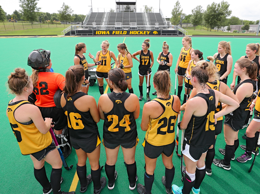 The Iowa Hawkeyes Field Hockey team huddles during practice at Grant Field in Iowa City on Thursday, Aug 15, 2019. (Stephen Mally/hawkeyesports.com)