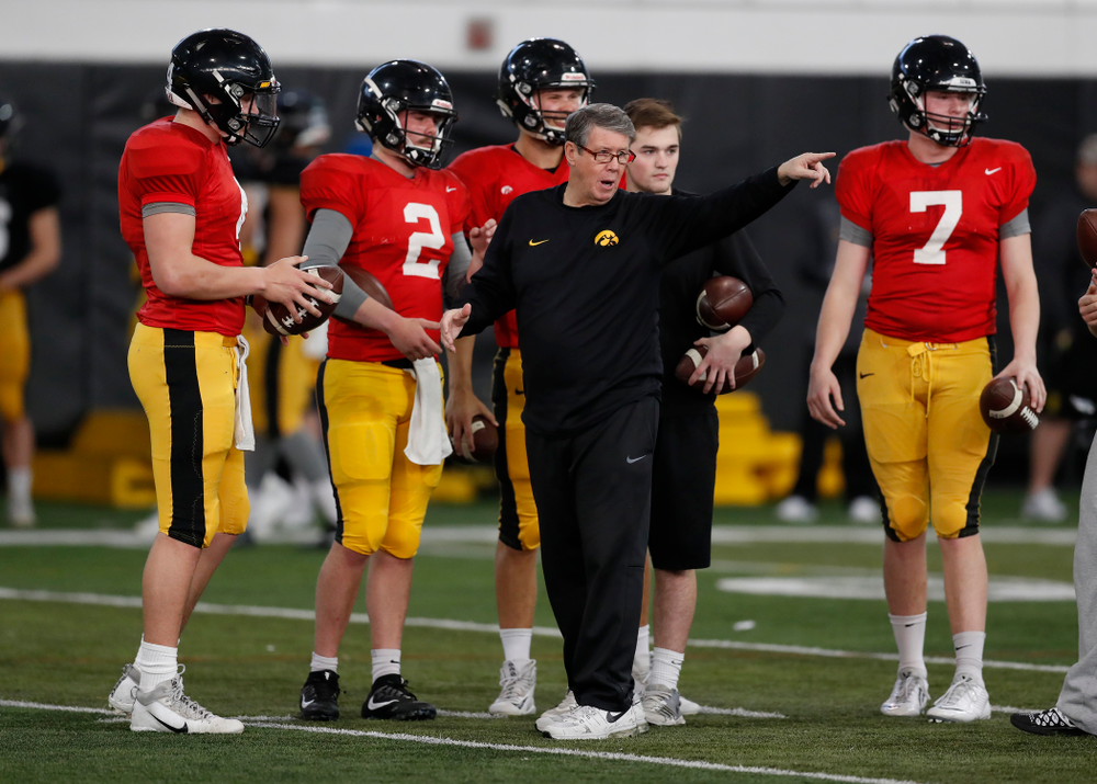 Iowa Hawkeyes quarterbacks coach Ken O'Keefe during spring practice Wednesday, March 28, 2018 at the Hansen Football Performance Center.  (Brian Ray/hawkeyesports.com)
