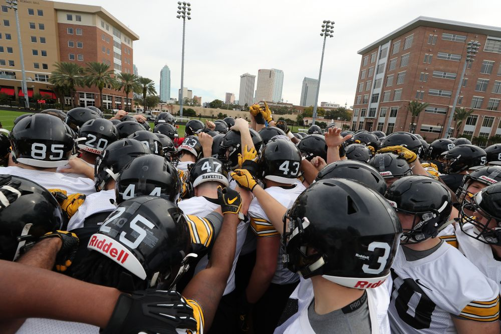 The Iowa Hawkeyes break it down during the team's first Outback Bowl Practice in Florida Thursday, December 27, 2018 at Tampa University. (Brian Ray/hawkeyesports.com)