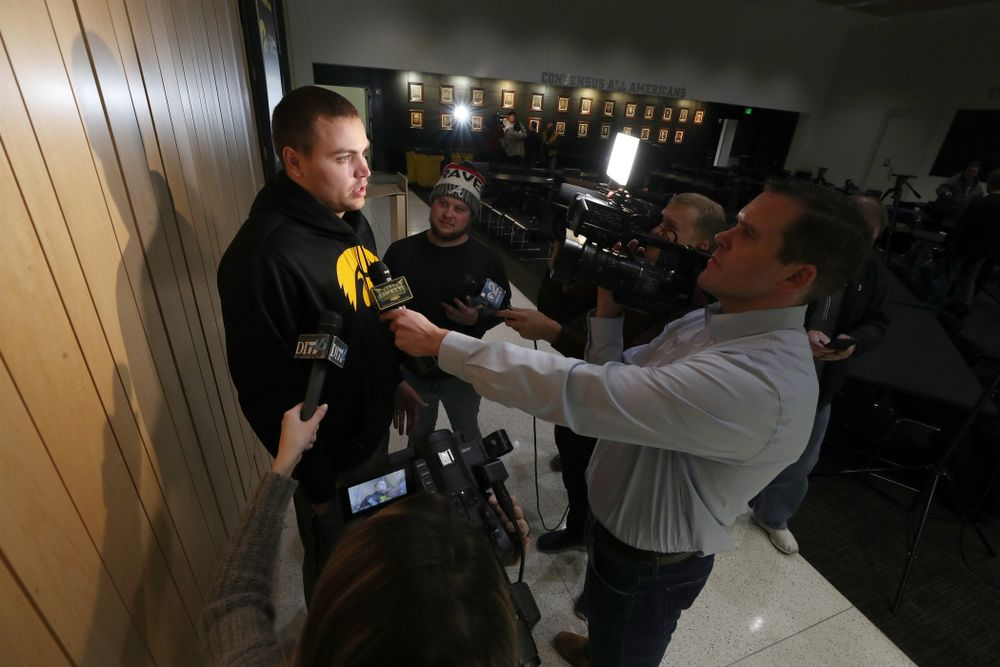 Iowa Hawkeyes quarterback Nate Stanley (4) answers questions from the media on the Hawkeyes selection to face USC in the 2019 Holiday Bowl Sunday, December 8, 2019 at the Hansen Football Performance Center. (Brian Ray/hawkeyesports.com)