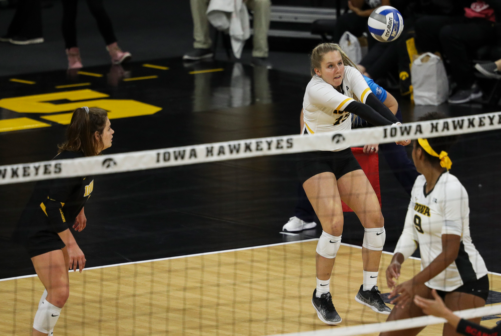 Iowa Hawkeyes defensive specialist Maddie Slagle (15) bumps the ball during a match against Rutgers at Carver-Hawkeye Arena on November 2, 2018. (Tork Mason/hawkeyesports.com)