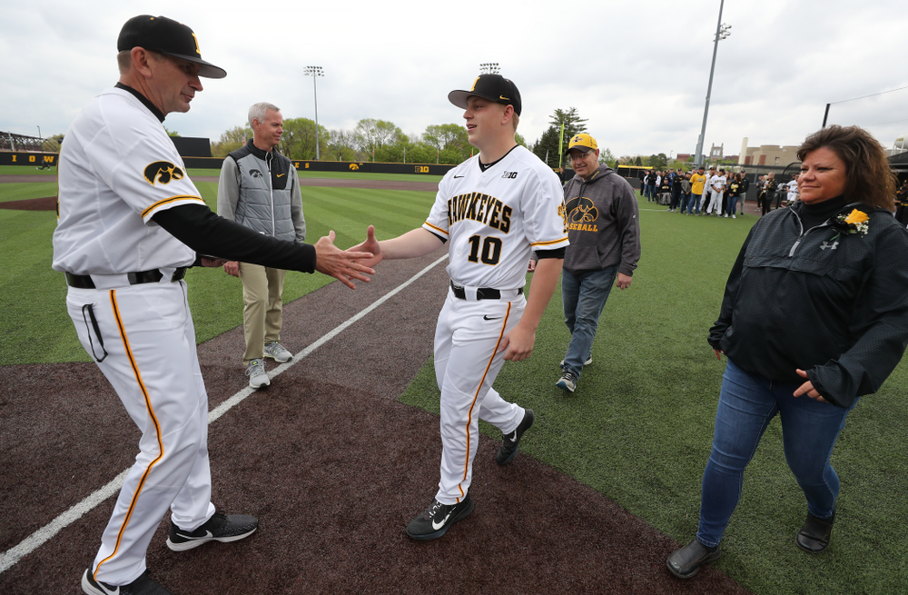 IIowa Hawkeyes Derek Lieurance (10) during senior day festivities before their game against Michigan State Sunday, May 12, 2019 at Duane Banks Field. (Brian Ray/hawkeyesports.com)