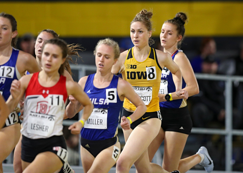 Iowa's Elyse Prescott runs the women's 1 mile run event at the Black and Gold Invite at the Recreation Building in Iowa City on Saturday, February 1, 2020. (Stephen Mally/hawkeyesports.com)
