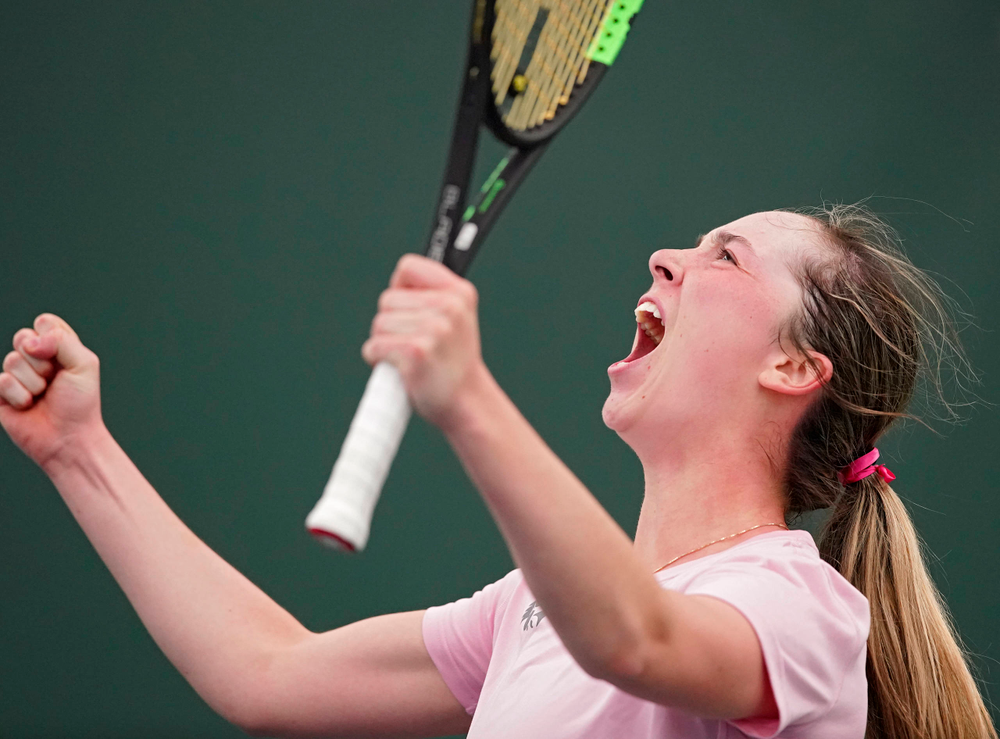 Iowa's Samantha Mannix celebrates during a match against Purdue at the Hawkeye Tennis and Recreation Complex in Iowa City on Friday, Mar. 29, 2019. (Stephen Mally/hawkeyesports.com)