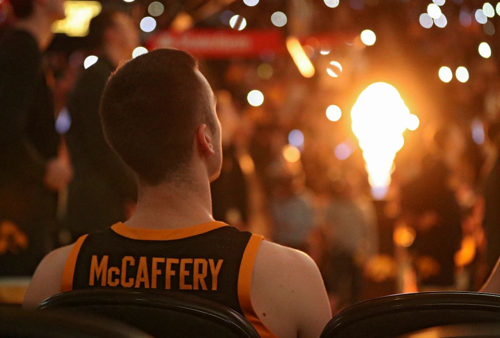 Iowa Hawkeyes guard Connor McCaffery (30) waits to be introduced before their game at Carver-Hawkeye Arena in Iowa City on Monday, January 27, 2020. (Stephen Mally/hawkeyesports.com)