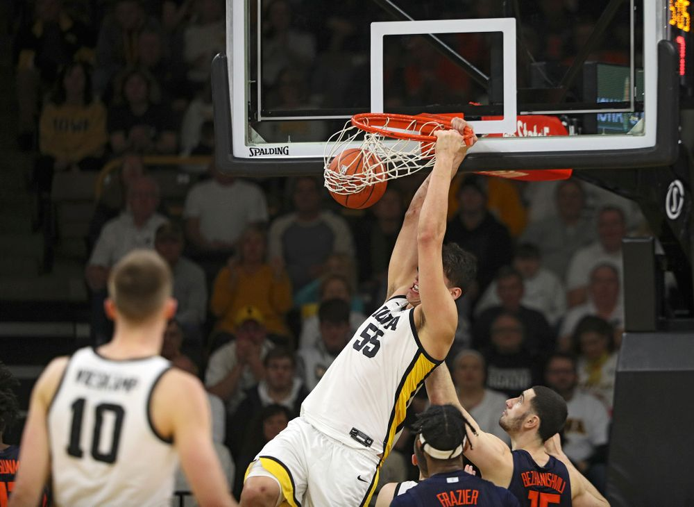 Iowa Hawkeyes center Luka Garza (55) dunks the ball during the second half of the game at Carver-Hawkeye Arena in Iowa City on Sunday, February 2, 2020. (Stephen Mally/hawkeyesports.com)