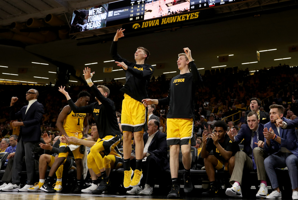 Iowa Hawkeyes guard Austin Ash (13) and forward Michael Baer (0) against the Rutgers Scarlet Knights  Wednesday, January 22, 2020 at Carver-Hawkeye Arena. (Brian Ray/hawkeyesports.com)