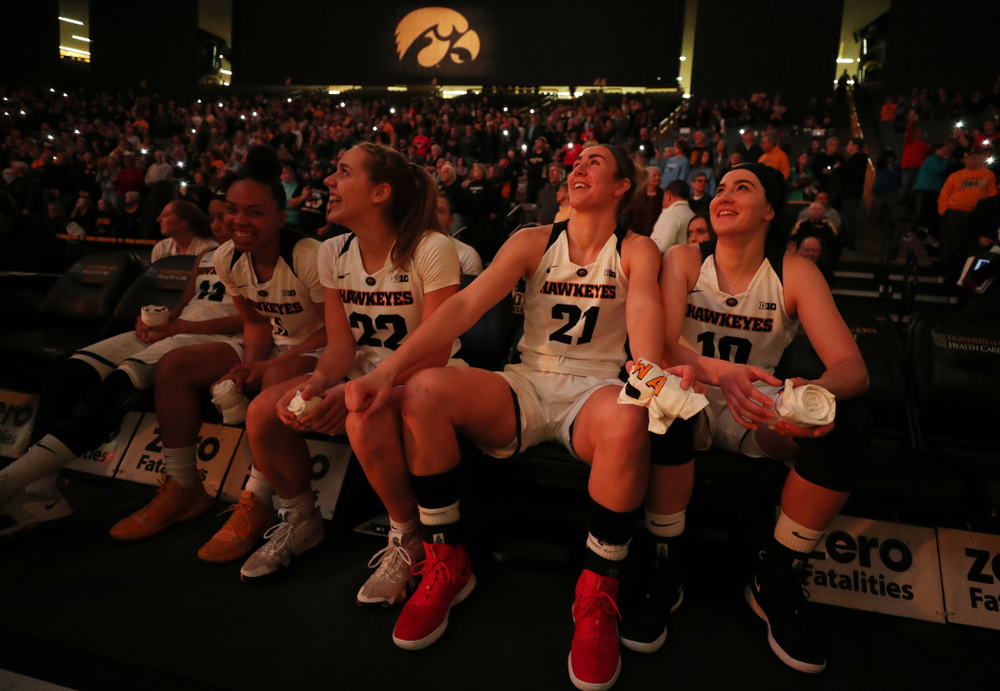 Iowa Hawkeyes forward Hannah Stewart (21) and forward Megan Gustafson (10) against the Illinois Fighting Illini Thursday, February 14, 2019 at Carver-Hawkeye Arena. (Brian Ray/hawkeyesports.com)