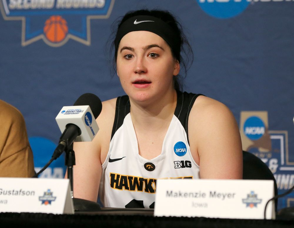 Iowa Hawkeyes forward Megan Gustafson (10) talks during their press availability after winning their game in the first round of the 2019 NCAA Women's Basketball Tournament at Carver Hawkeye Arena in Iowa City on Friday, Mar. 22, 2019. (Stephen Mally for hawkeyesports.com)