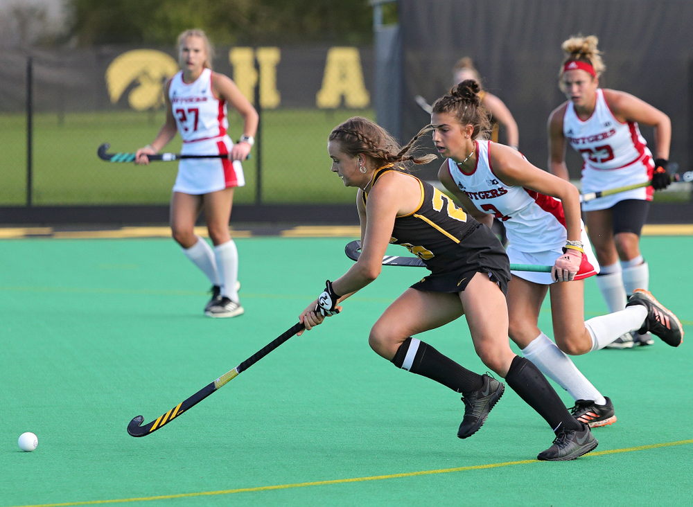 Iowa's Maddy Murphy (26) moves with the ball during the third quarter of their match at Grant Field in Iowa City on Friday, Oct 4, 2019. (Stephen Mally/hawkeyesports.com)