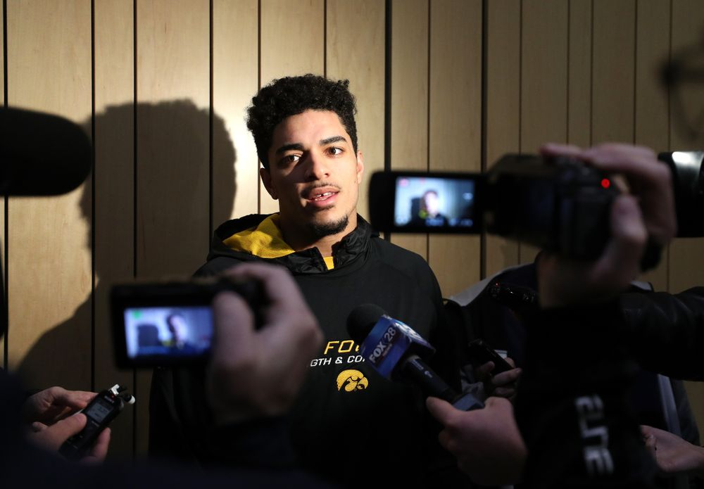 Iowa Hawkeyes defensive back Amani Hooker (27) addresses the media about the Hawkeyes selection to face Mississippi State in the Outback Bowl Sunday, December 2, 2018 at the Hansen Football Performance Center. (Brian Ray/hawkeyesports.com)