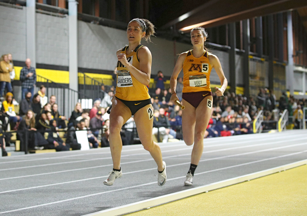 Iowa's Tia Saunders runs the women's 1600 meter relay premier event during the Larry Wieczorek Invitational at the Recreation Building in Iowa City on Saturday, January 18, 2020. (Stephen Mally/hawkeyesports.com)