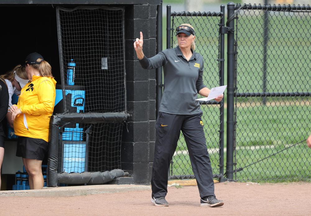 Head Coach Renee Gillispie against the Ohio State Buckeyes on senior day Sunday, May 5, 2019 at Pearl Field. (Brian Ray/hawkeyesports.com)