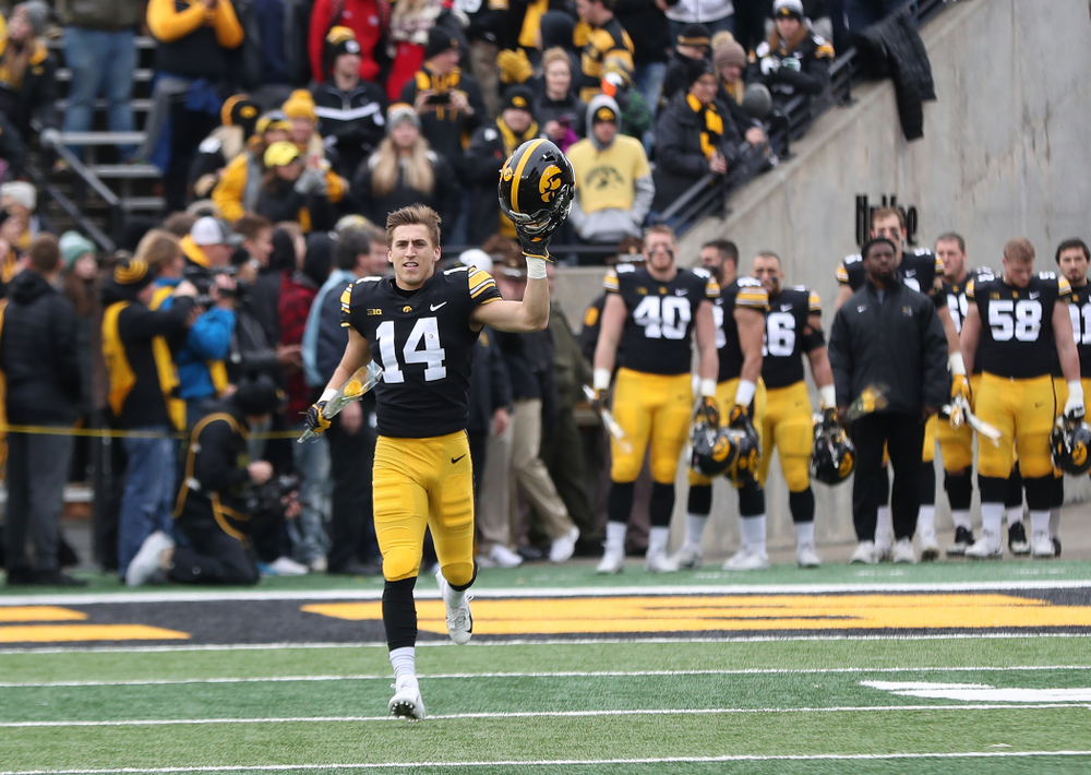 Iowa Hawkeyes wide receiver Kyle Groeneweg (14) during senior day activities before their game against the Nebraska Cornhuskers Friday, November 23, 2018 at Kinnick Stadium. (Brian Ray/hawkeyesports.com)