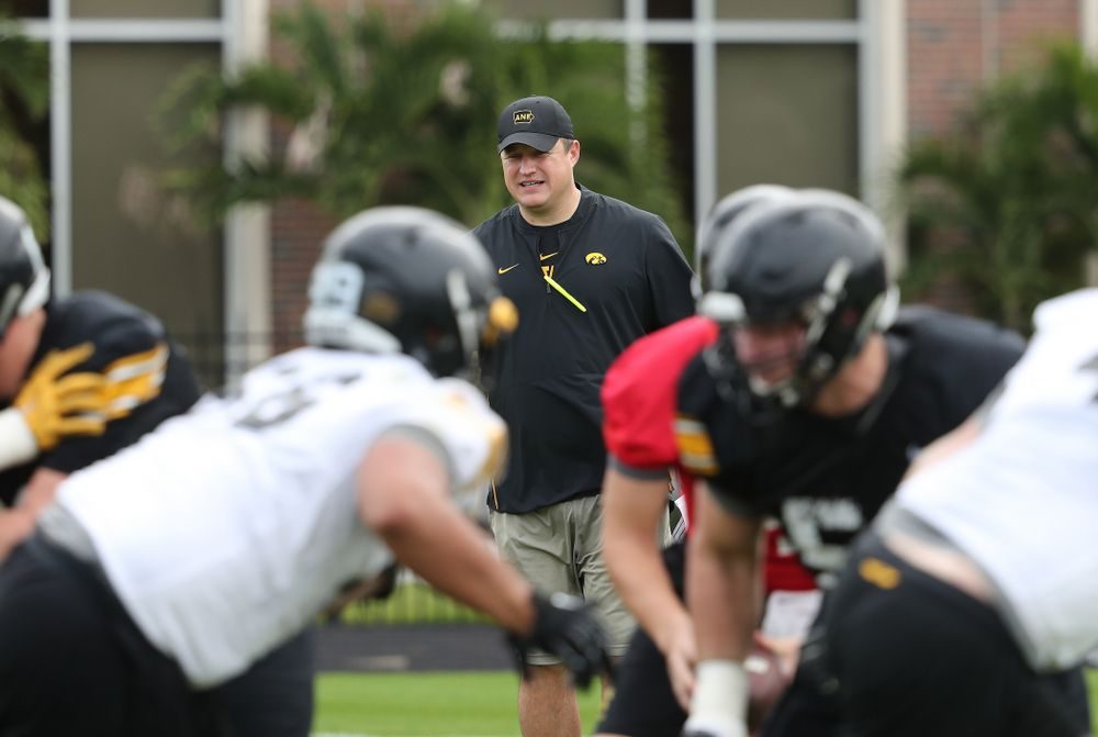 Iowa Hawkeyes offensive coordinator Brian Ferentz during the team's first Outback Bowl Practice in Florida Thursday, December 27, 2018 at Tampa University. (Brian Ray/hawkeyesports.com)
