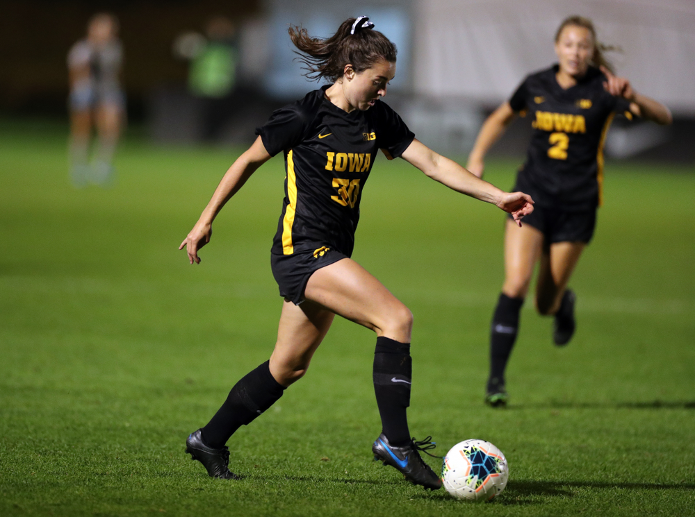 Iowa Hawkeyes forward Devin Burns (30) against the Nebraska Cornhuskers Thursday, October 3, 2019 at the Iowa Soccer Complex. (Brian Ray/hawkeyesports.com)