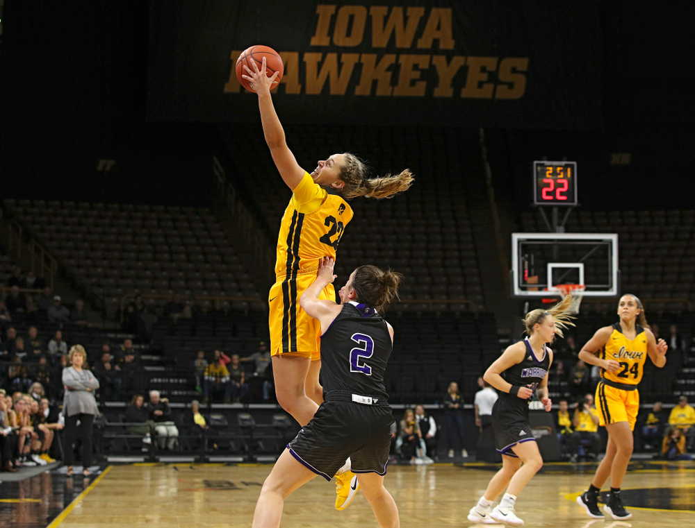 Iowa guard Kathleen Doyle (22) snags a pass during the first quarter of their game against Winona State at Carver-Hawkeye Arena in Iowa City on Sunday, Nov 3, 2019. (Stephen Mally/hawkeyesports.com)