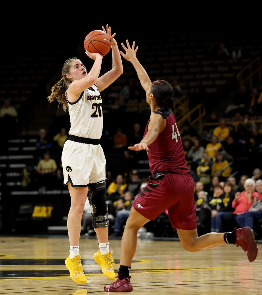 Iowa Hawkeyes guard Kate Martin (20) against North Carolina Central Saturday, December 14, 2019 at Carver-Hawkeye Arena. (Brian Ray/hawkeyesports.com)