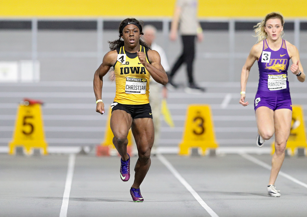 Iowa's Antonise Christian runs in the women's 60 meter dash prelim event during the Hawkeye Invitational at the Recreation Building in Iowa City on Saturday, January 11, 2020. (Stephen Mally/hawkeyesports.com)