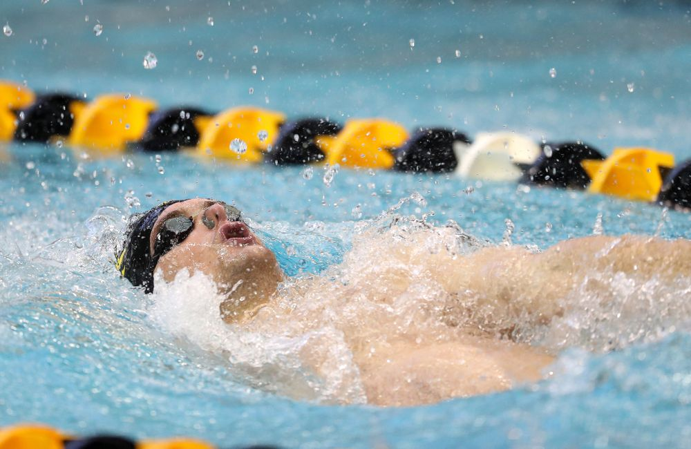 Iowa's Kenneth Mende swims the 100 yard backstroke during a double dual against Wisconsin and Northwestern Saturday, January 19, 2019 at the Campus Recreation and Wellness Center. (Brian Ray/hawkeyesports.com)