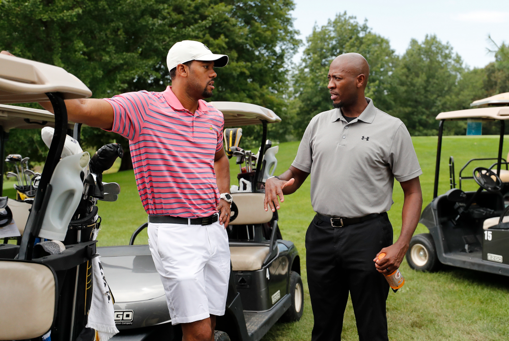 Duez Henderson and Kenyon Murray during the 2018 Chris Street Memorial Golf Outing Monday, August 27, 2018 at Finkbine Golf Course. (Brian Ray/hawkeyesports.com)