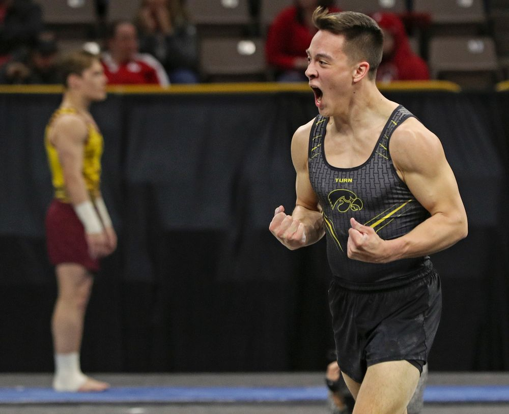 Iowa's Kulani Taylor is pumped up after competing in the floor during the first day of the Big Ten Men's Gymnastics Championships at Carver-Hawkeye Arena in Iowa City on Friday, Apr. 5, 2019. (Stephen Mally/hawkeyesports.com)