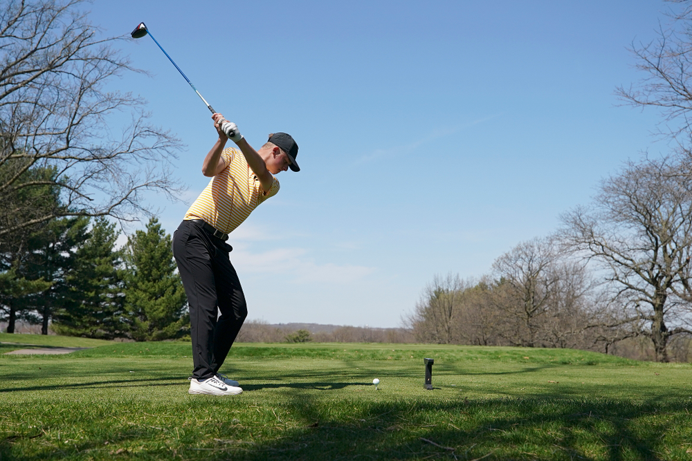 Iowa's Benton Weinberg tees off during the third round of the Hawkeye Invitational at Finkbine Golf Course in Iowa City on Sunday, Apr. 21, 2019. (Stephen Mally/hawkeyesports.com)