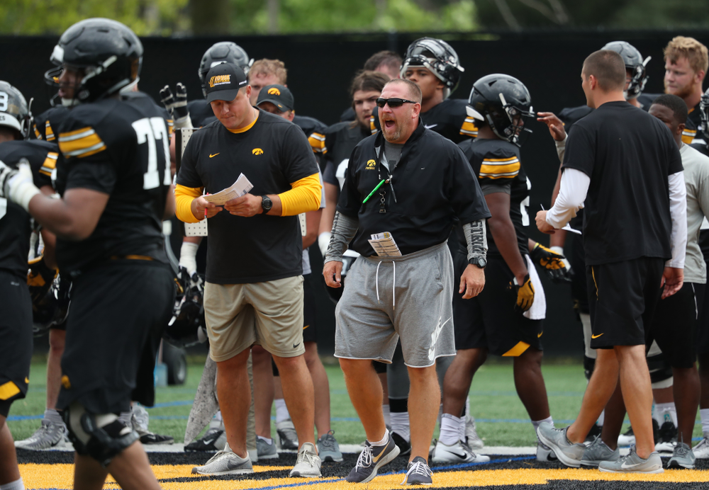 Iowa Hawkeyes offensive line coach Tim Polasek during practice No. 4 of Fall Camp Monday, August 6, 2018 at the Hansen Football Performance Center. (Brian Ray/hawkeyesports.com)