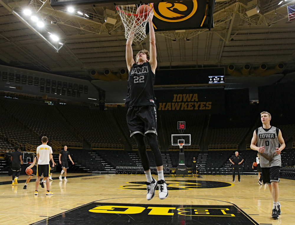 Iowa Hawkeyes forward Patrick McCaffery (22) dunks the ball during practice at Carver-Hawkeye Arena in Iowa City on Wednesday, Oct 9, 2019. (Stephen Mally/hawkeyesports.com)