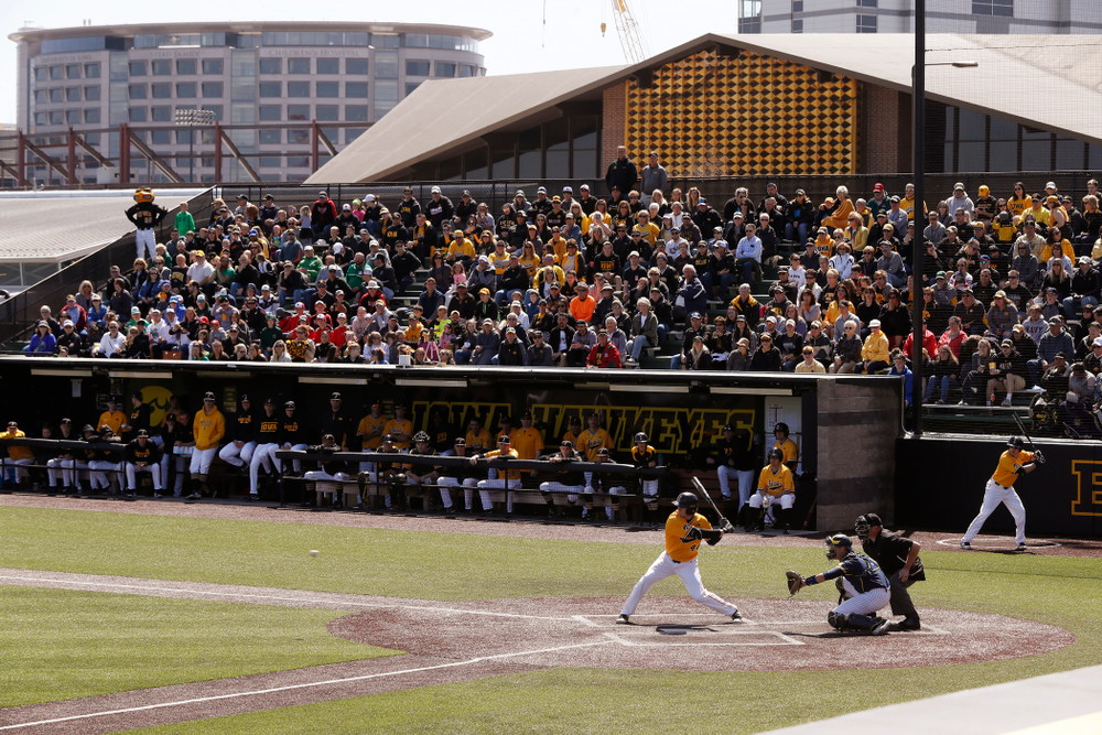 Iowa Hawkeyes outfielder Robert Neustrom (44) against the Michigan Wolverines Sunday, April 29, 2018 at Duane Banks Field. (Brian Ray/hawkeyesports.com)