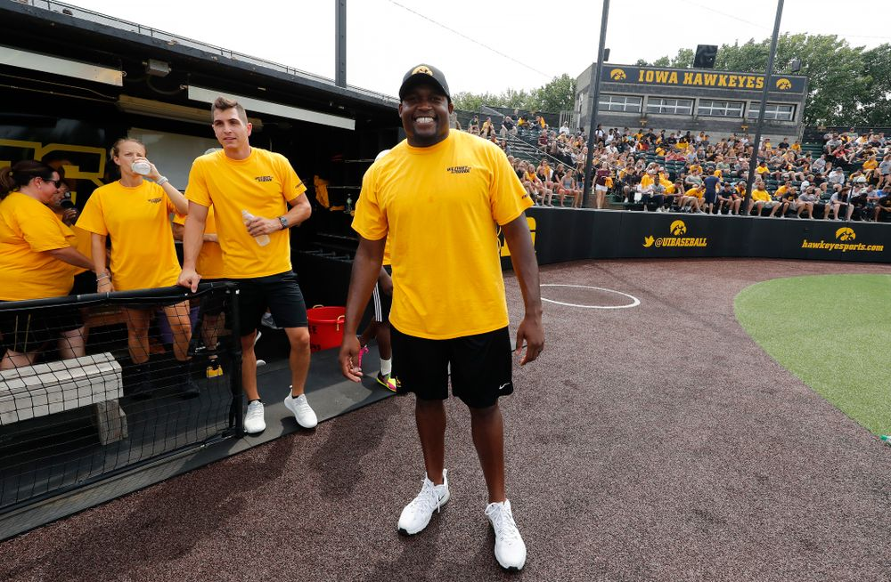 Football Director of Player Development Broderick Binns during the Iowa Student Athlete Kickoff Kickball game  Sunday, August 19, 2018 at Duane Banks Field. (Brian Ray/hawkeyesports.com)