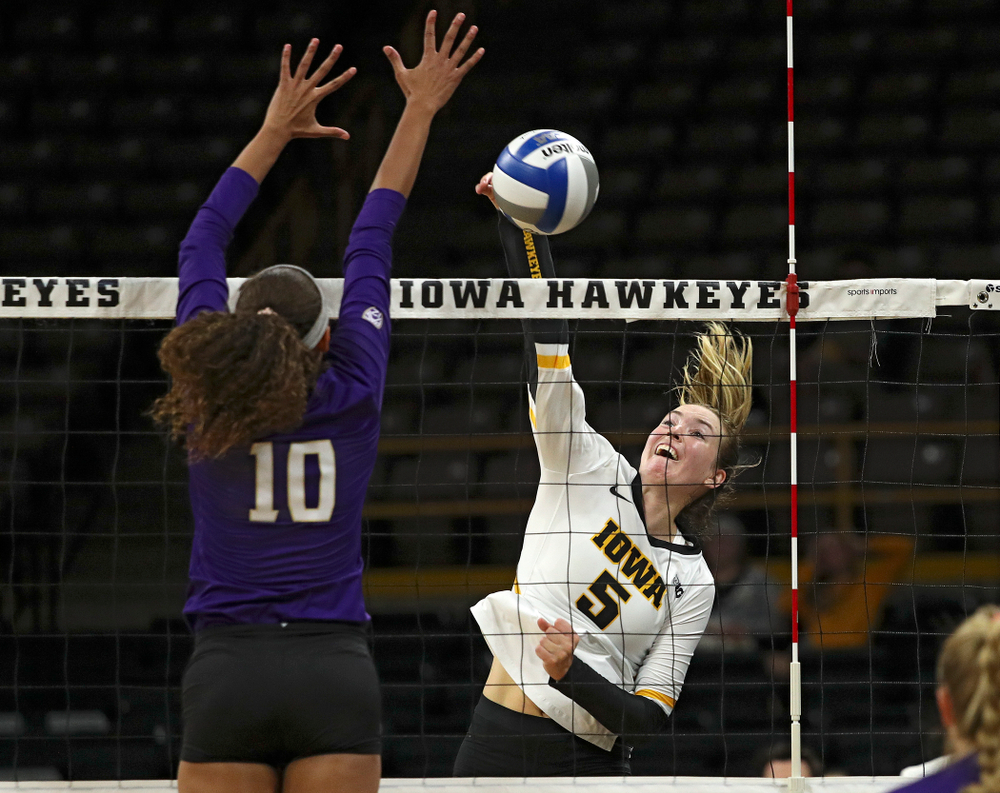 Iowa's Meghan Buzzerio (5) goes up for a kill during their Big Ten/Pac-12 Challenge match at Carver-Hawkeye Arena in Iowa City on Saturday, Sep 7, 2019. (Stephen Mally/hawkeyesports.com)