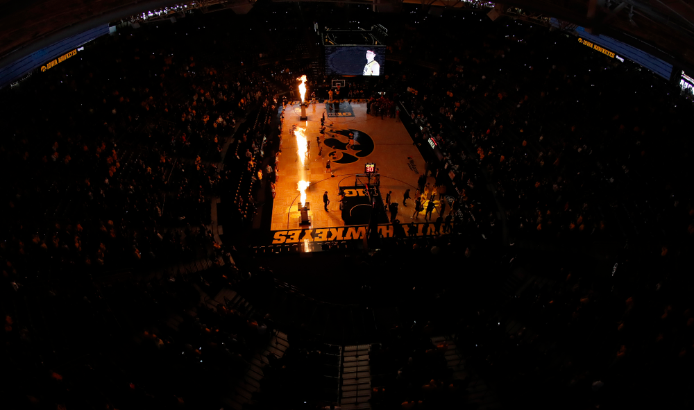 The Iowa Hawkeyes are introduced before their game