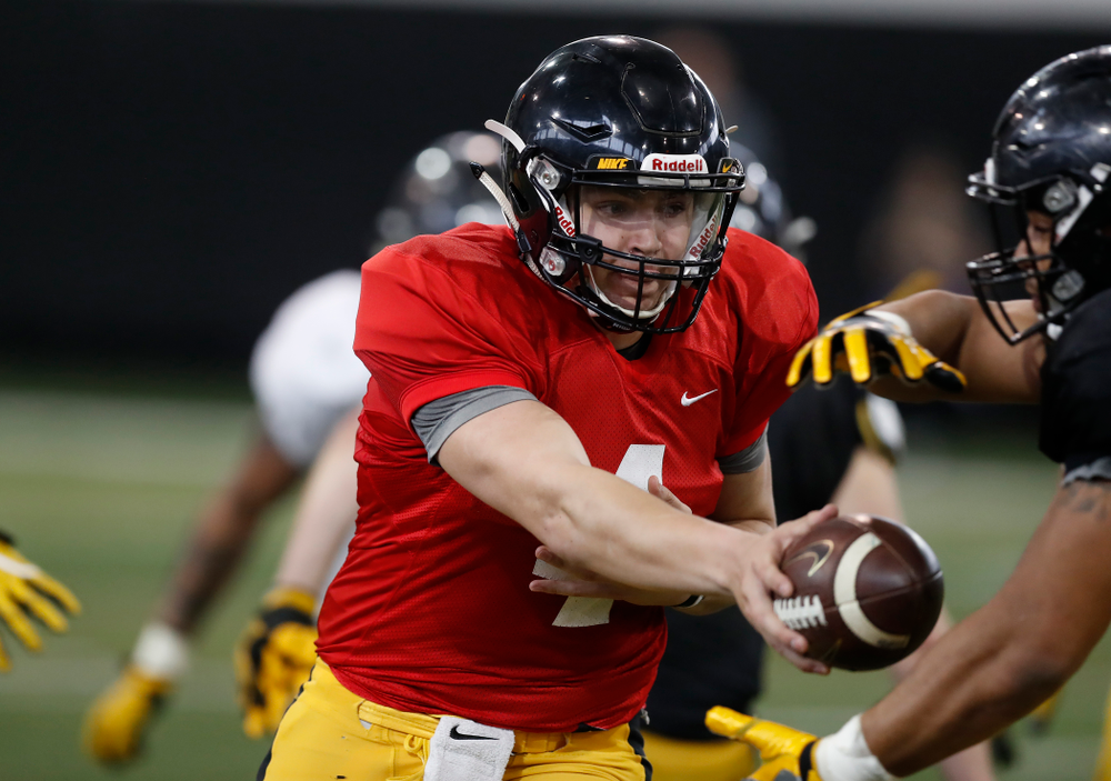 Iowa Hawkeyes quarterback Nathan Stanley (4)  during spring practice  Saturday, March 31, 2018 at the Hansen Football Performance Center. (Brian Ray/hawkeyesports.com)