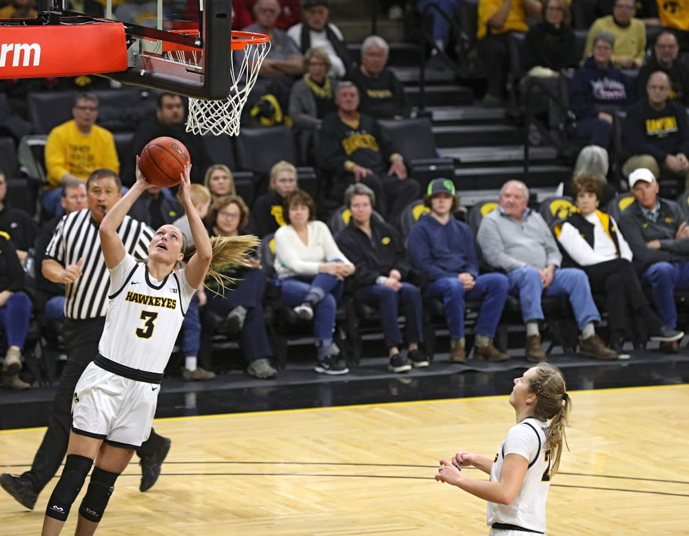 Iowa Hawkeyes guard Makenzie Meyer (3) scores a basket during the fourth quarter of their game at Carver-Hawkeye Arena in Iowa City on Sunday, January 12, 2020. (Stephen Mally/hawkeyesports.com)
