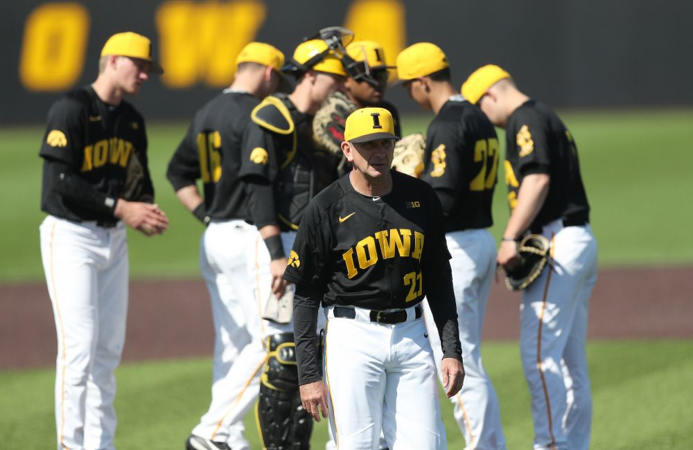 Iowa Hawkeyes head coach Rick Heller during game two against UC Irvine Saturday, May 4, 2019 at Duane Banks Field. (Brian Ray/hawkeyesports.com)