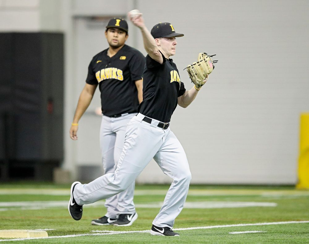 Iowa Hawkeyes utility player Sam Link (3) throws to first base during practice at the Hansen Football Performance Center in Iowa City on Friday, January 24, 2020. (Stephen Mally/hawkeyesports.com)