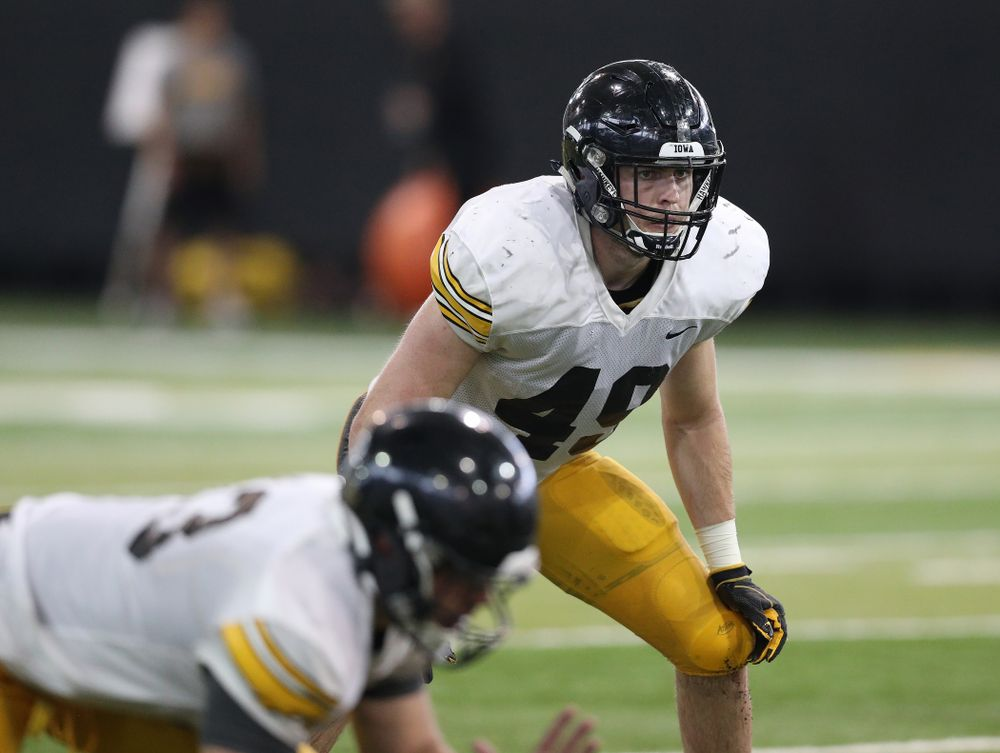 Iowa Hawkeyes linebacker Nick Niemann (49) during Fall Camp Practice No. 6 Thursday, August 8, 2019 at the Ronald D. and Margaret L. Kenyon Football Practice Facility. (Brian Ray/hawkeyesports.com)