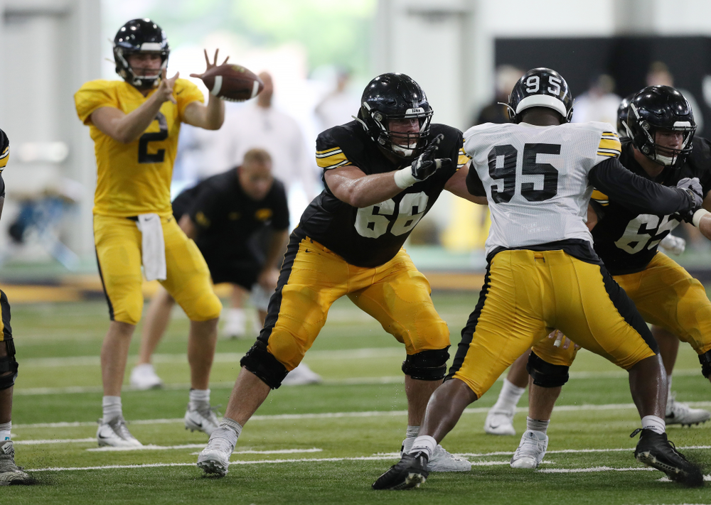 Iowa Hawkeyes offensive lineman Levi Paulsen (66) during Fall Camp Practice No. 6 Thursday, August 8, 2019 at the Ronald D. and Margaret L. Kenyon Football Practice Facility. (Brian Ray/hawkeyesports.com)