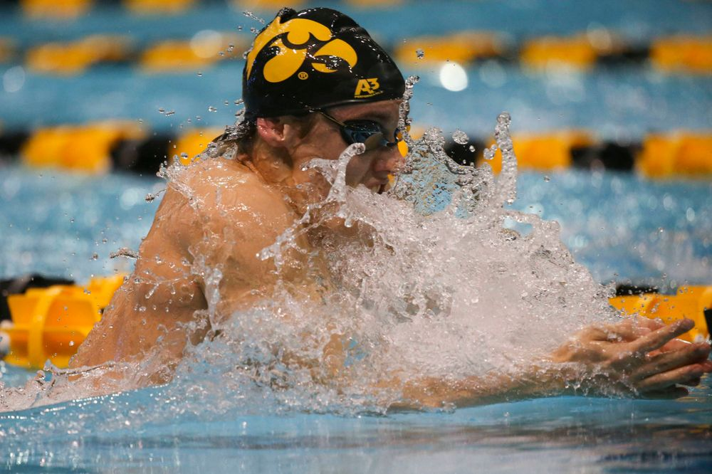 Iowa's Daniel Swanepoel at the 200-yard breaststroke race Saturday, March 2, 2019 at the Campus Recreation and Wellness Center. (Lily Smith/hawkeyesports.com)