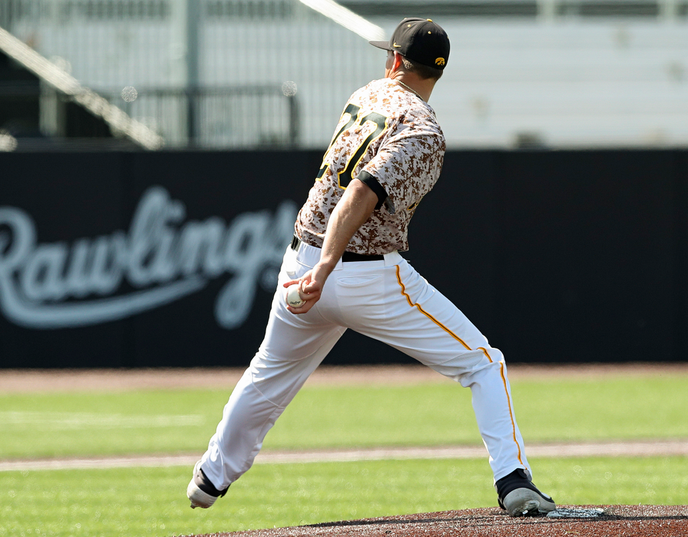 Iowa Hawkeyes pitcher Jason Foster (27) delivers during the sixth inning of their game against UC Irvine at Duane Banks Field in Iowa City on Sunday, May. 5, 2019. (Stephen Mally/hawkeyesports.com)