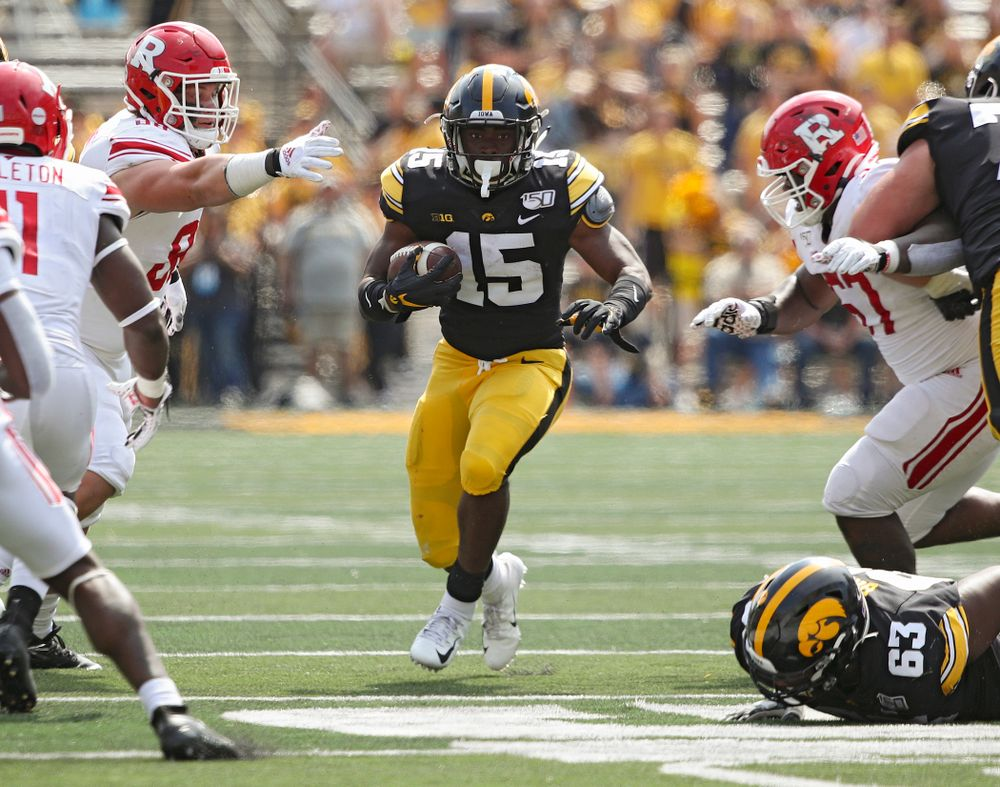 Iowa Hawkeyes running back Tyler Goodson (15) on a run during the fourth quarter of their Big Ten Conference football game at Kinnick Stadium in Iowa City on Saturday, Sep 7, 2019. (Stephen Mally/hawkeyesports.com)