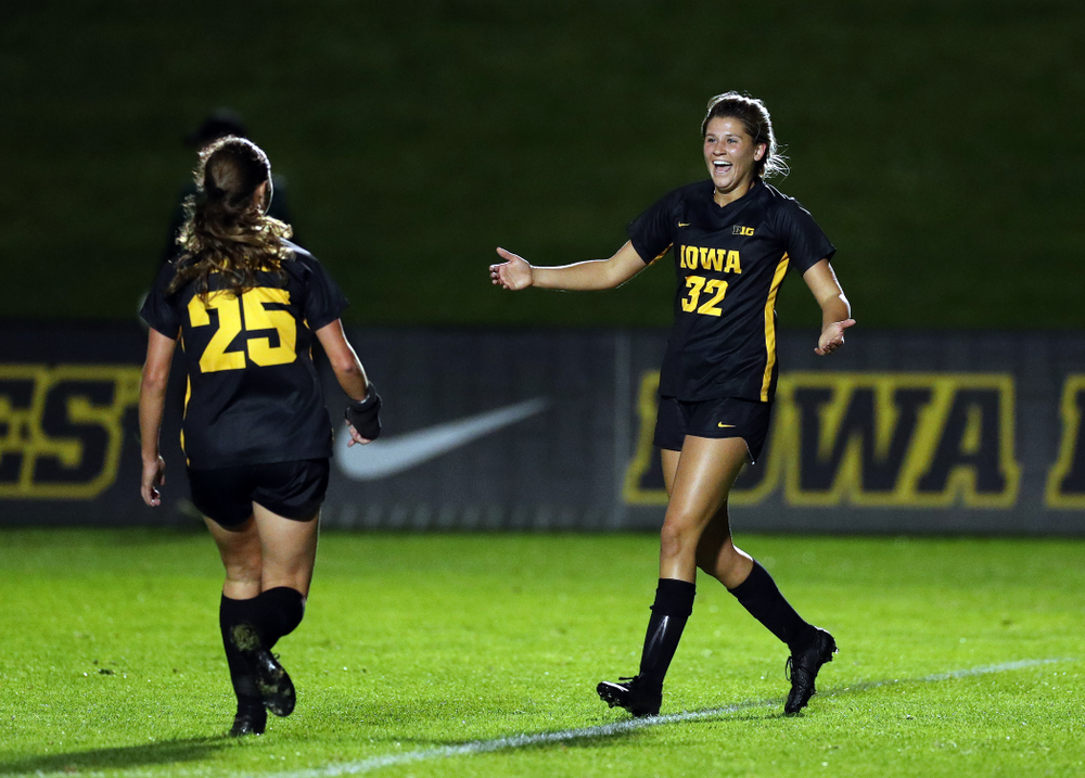 Iowa Hawkeyes forward Gianna Gourley (32) celebrates after scoring against the Nebraska Cornhuskers Thursday, October 3, 2019 at the Iowa Soccer Complex. (Brian Ray/hawkeyesports.com)